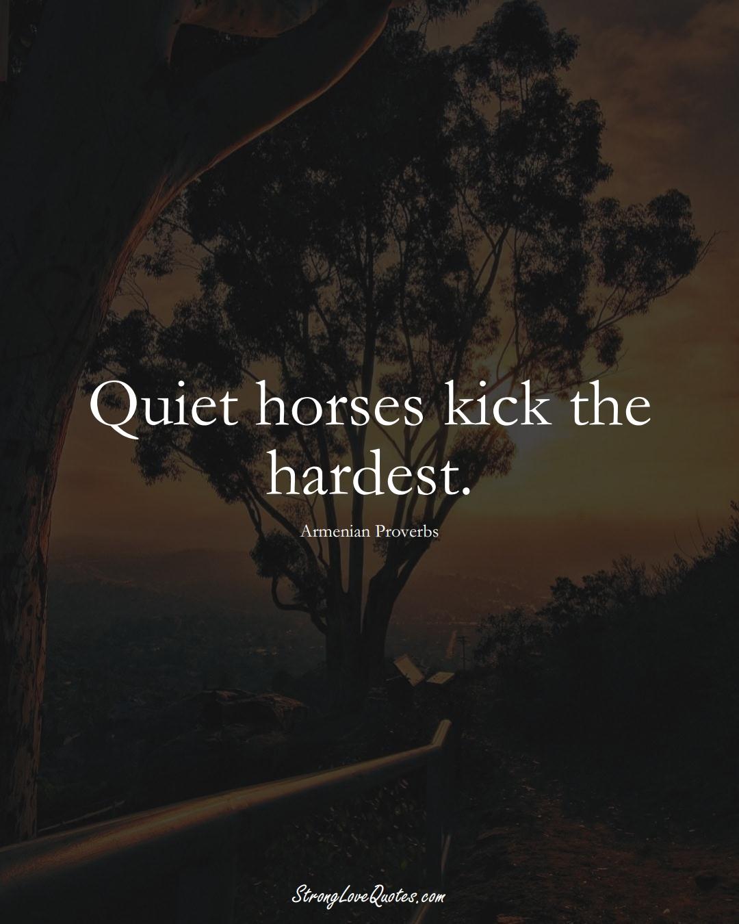 Quiet horses kick the hardest. (Armenian Sayings);  #AsianSayings