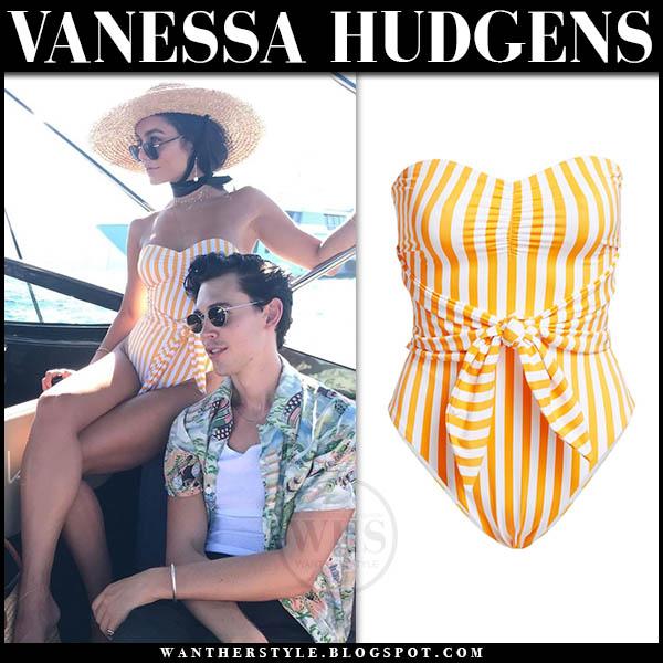 Vanessa Hudgens in yellow striped swimsuit onia capri. Celebrity summer style august 15