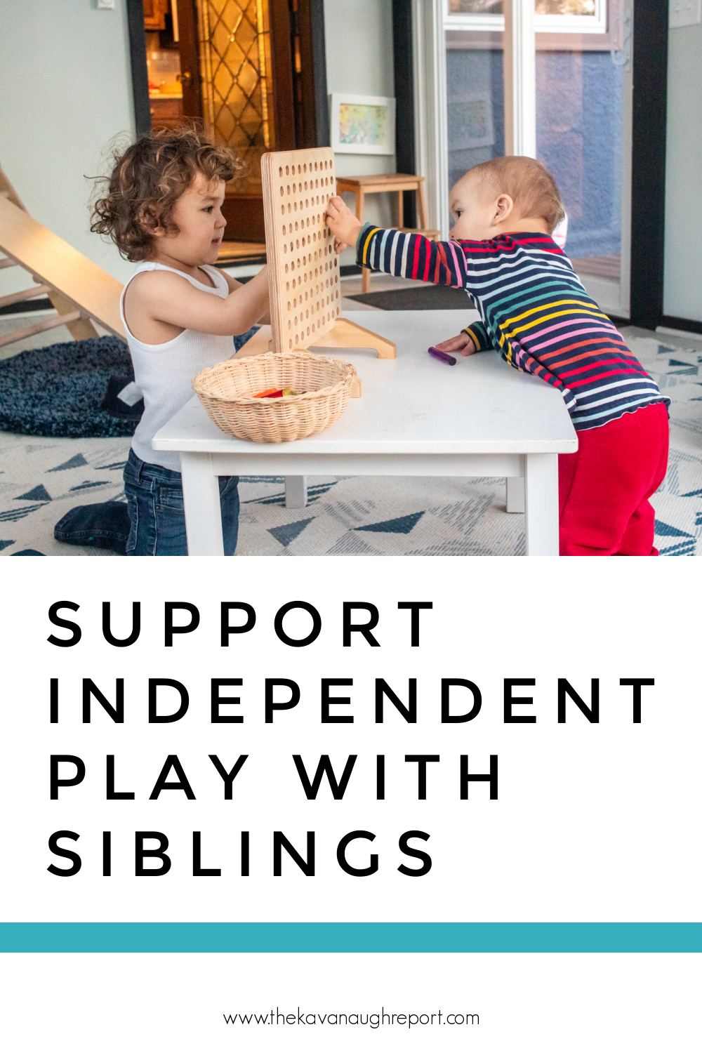 Montessori parenting advice including 4 easy ways to support independent play between siblings at home.