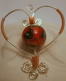 My heart to you: sterling silver, copper, lampwork, pendant :: All Pretty Things