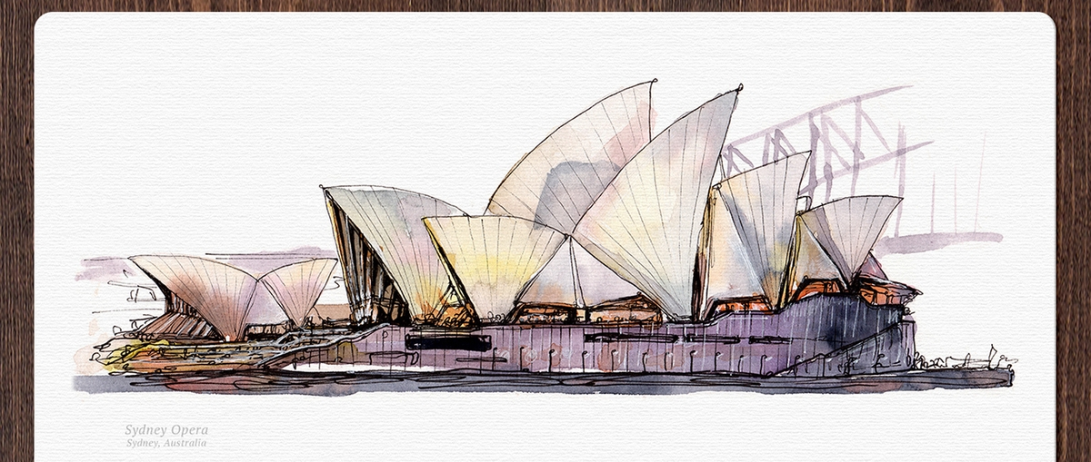 07-Sydney-Opera-House-Australia-Mucahit-Gayiran-Architectural-Landmarks-Watercolor-Paintings-www-designstack-co