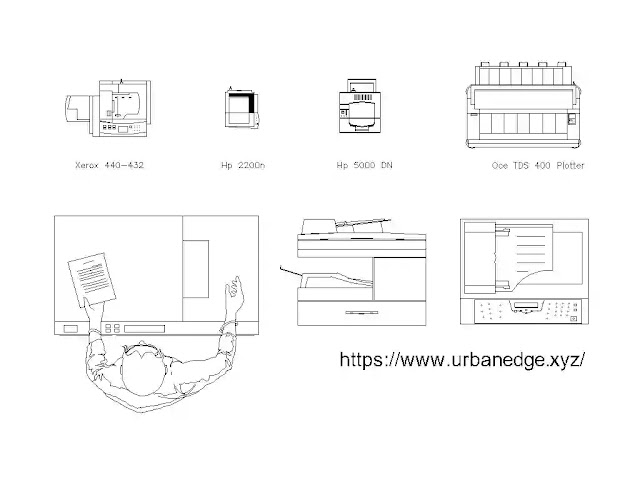 Printers and Photocopier cad blocks free download, 5+ Printer cad blocks