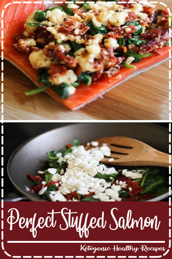 You've never had salmon like this! Stuff salmon with feta, sundried tomatoes and spinach for an amazing flavor combo you would never expect. The recipe is so easy to follow, you can't mess it up! A great healthy meal that's easy enough to make for large families or just single meal