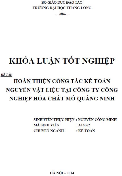 Hoàn thiện công tác kế toán nguyên vật liệu tại công ty công nghiệp hóa chất mỏ Quảng Ninh