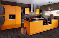 Orange kitchen island design ideas with gray countertops sink and kitchen utentils storage