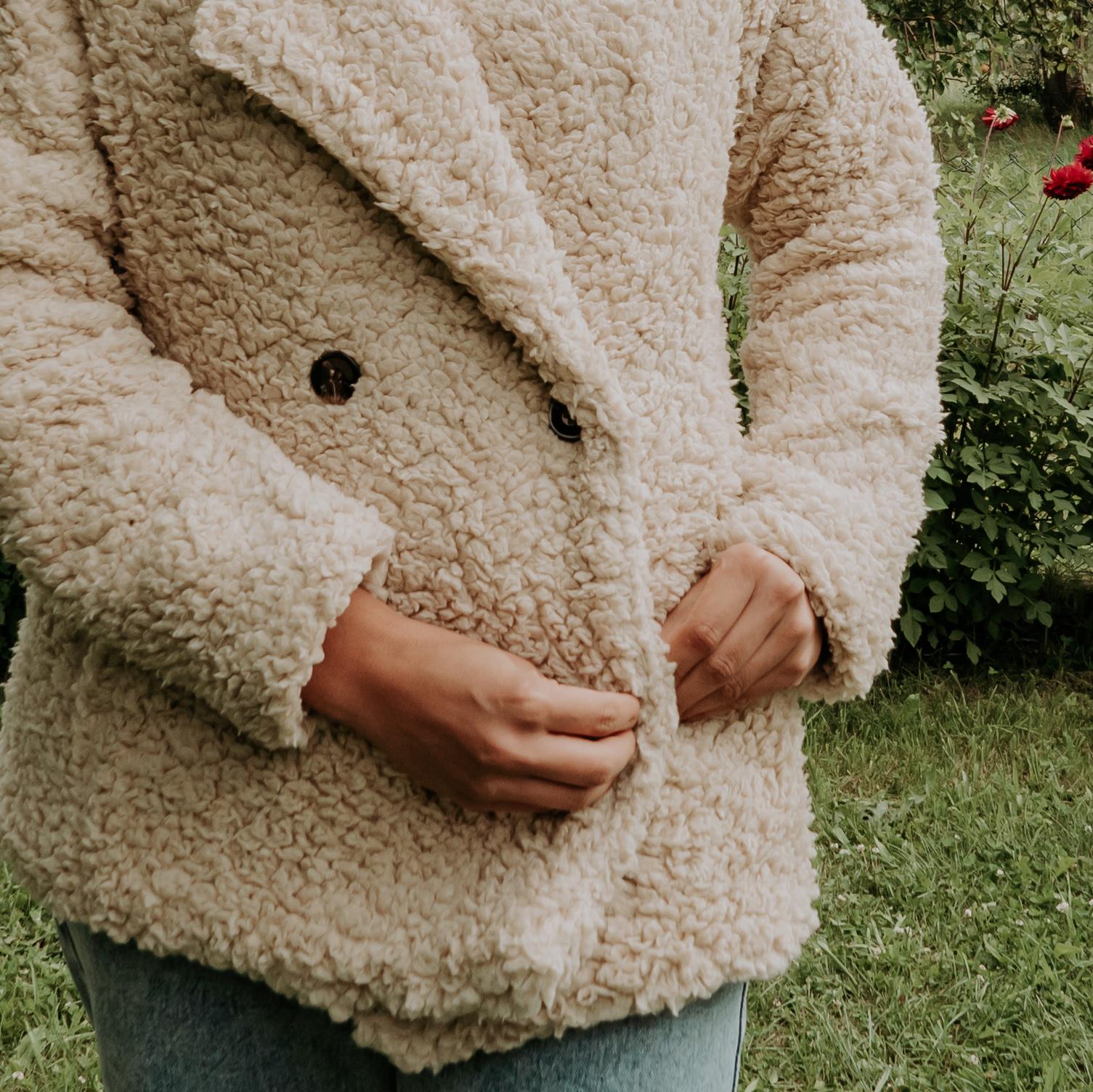 ciepły pluszowy płaszcz damski hit 2021