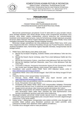 Pendaftaran Seleksi Beasiswa Santri Berprestasi tahun 2020
