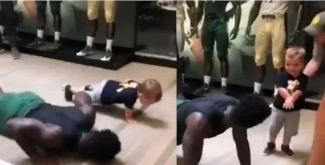 Toddler seen doing push-ups with one hand (Video)