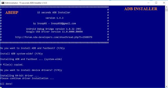 Tahapan cara menginstal adb installer.