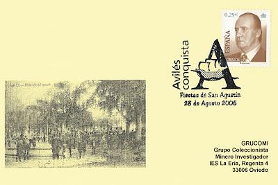 tarjeta, matasellos, filatelia, San Agustín, Avilés