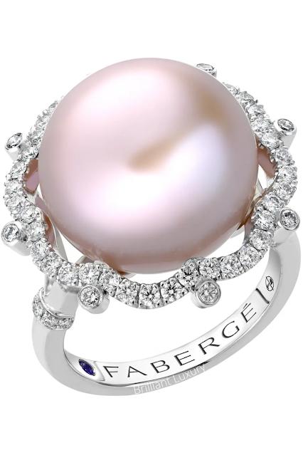 Fabergé Imperial bijoux platinium pink pearl & diamond ring #brilliantluxury