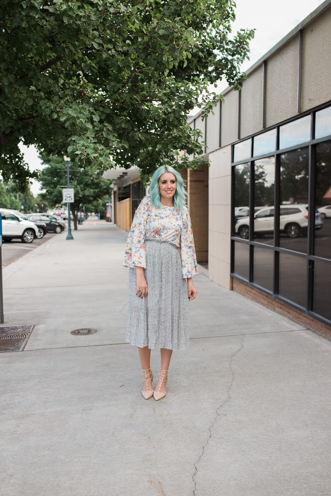 Tall girl style, floral, modest outfit