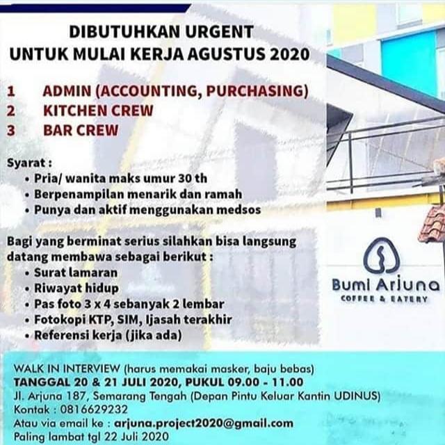 Lowongan Kerja Semarang di Bumi Arjuna Coffe & Eatery Sebagai Admin, Kitchen Crew & Bar Crew