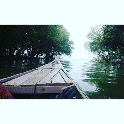 foto seru berkeliling hutan bakau pantai beting