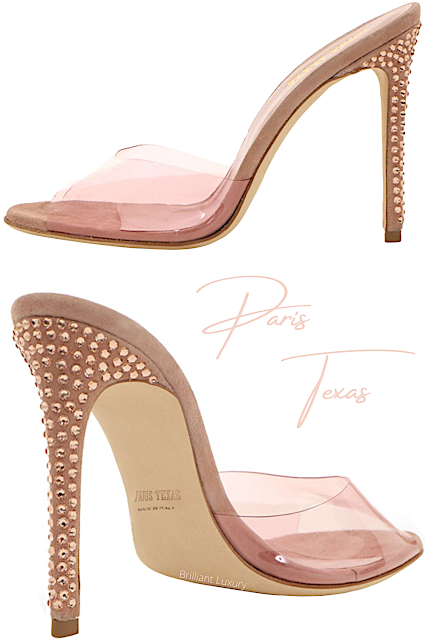 Paris Texas Pink Crystal-Embellished Suede PVC Mules #brilliantluxury