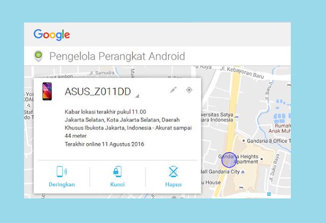 Contoh informasi Detail HP Muncul di Android Device Manager