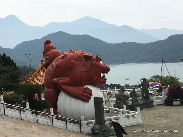 view of lake from Wenwu Temple at Sun Moon Lake in Taiwan