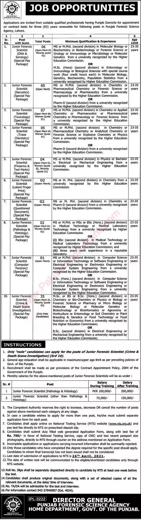 New Jobs in Pakistan Punjab Forensic Science Agency Lahore Jobs 2021   Apply Online