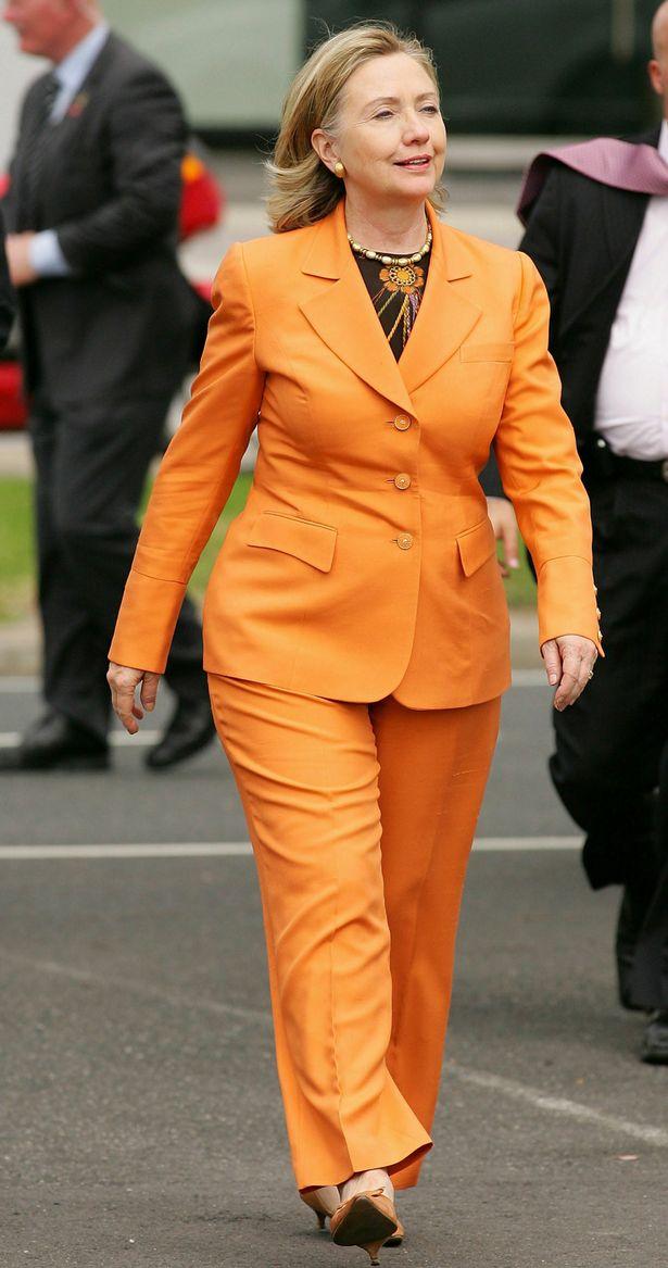 Hillary-Clinton-Orange-Nina-McLemore-Suit-2010