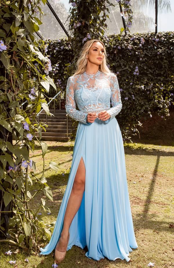vestido de festa longo azul claro serenity para madrinha de casamento