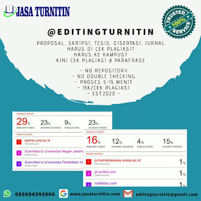 Jasa Mengecek Turnitin No Repository Jurnal Skripsi Tesis Disertasi Bahasa Inggris di Indonesia