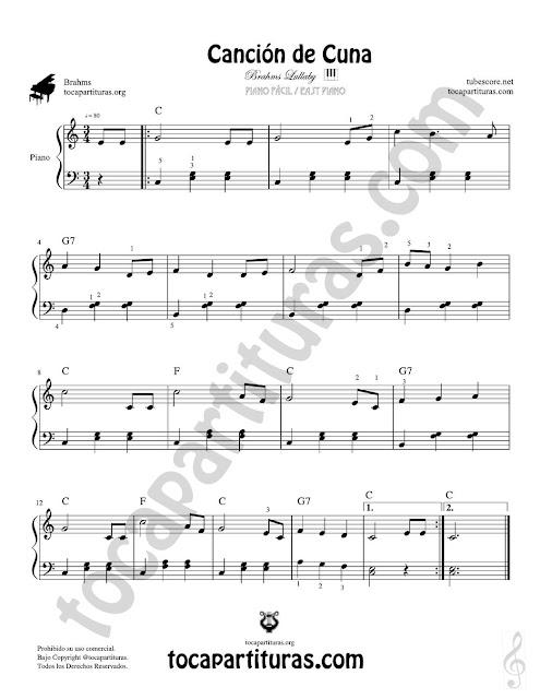 Partitura JPG para Piano Fácil con Digitación en Números de la Nana para Bebés o Canción de Cuna de J. Brahms. Lullaby Songs by Brahms Easy Piano Sheet Music for Beginners