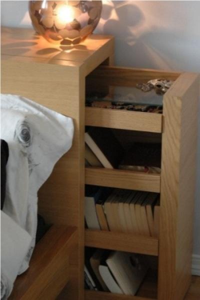 ergantung desainnya, headboard bisa dipakai untuk menyimpan buku dan air minum, sampai selimut dan bantal ekstra, atau tempat menyembunyikan barang-barang penting.