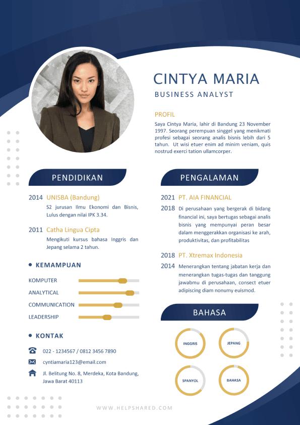 Contoh CV Lamaran Kerja Menarik Elegan Curriculum Vitae
