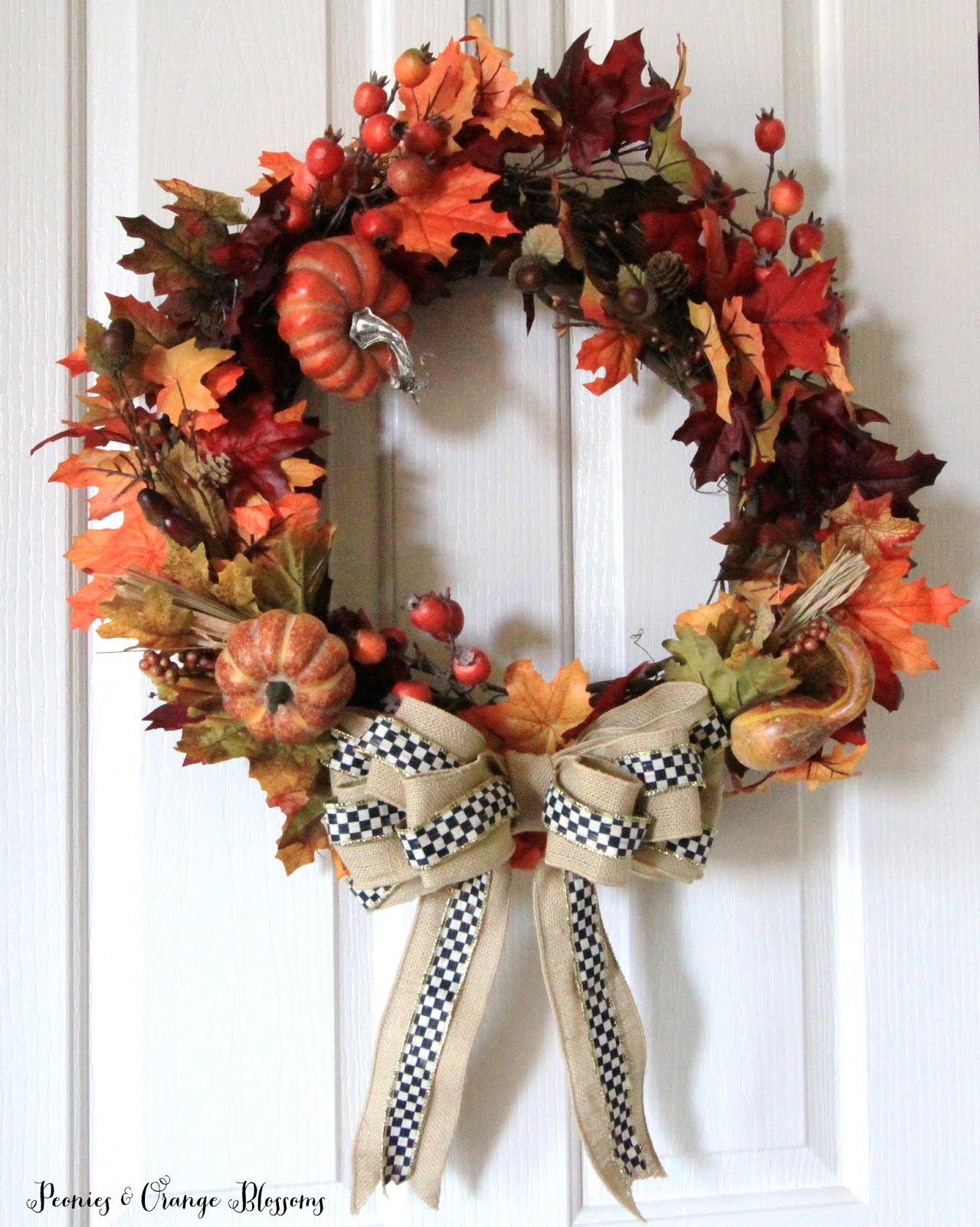 Peonies And Orange Blossoms Diy Fall Wreath Tutorial