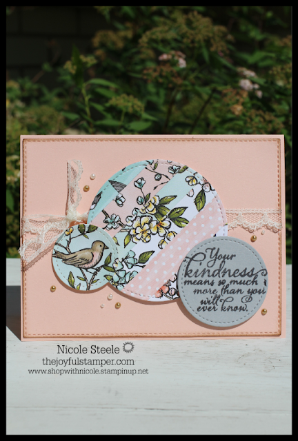 Kindness card using Stampin' Up! Bird Ballad DSP scraps and Painted Harvest stamp set