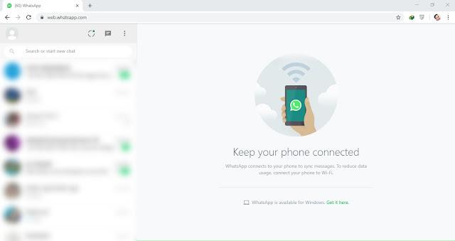 Tampilan whatsapp / wa web di pc laptop