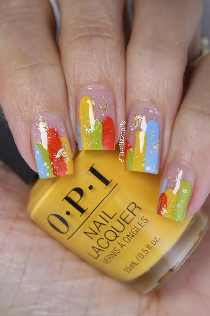 OPI Malibu Abstract Nail Art