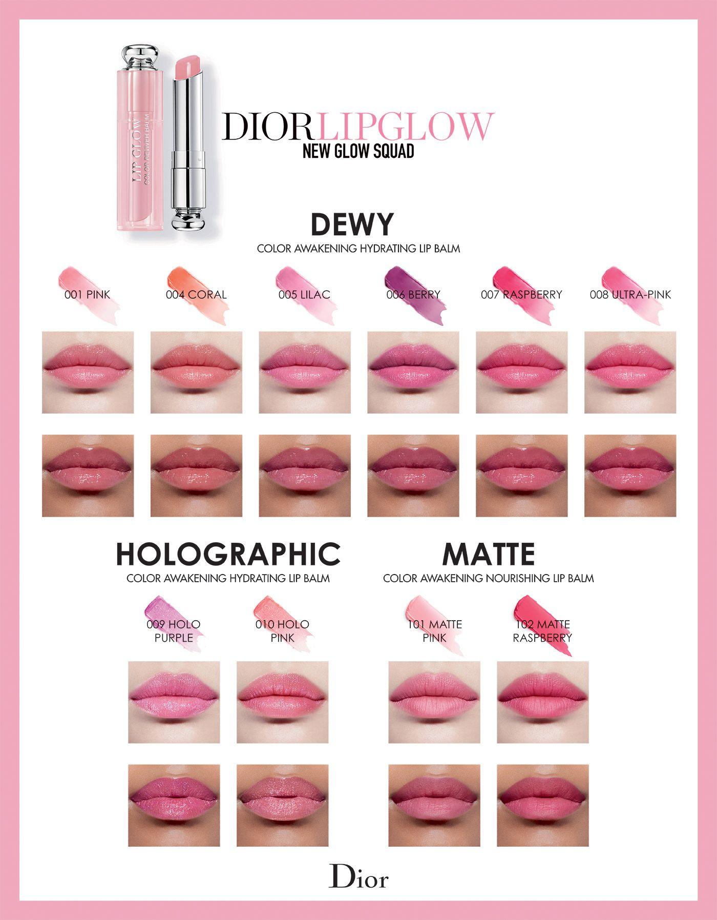 Các màu của son dưỡng Dior
