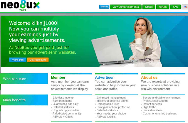 Neobux — zarabianie przez internet — PTC / Bux — opinie, opis