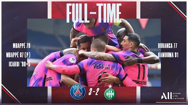 PSG palyers celebrates win over saint etienne