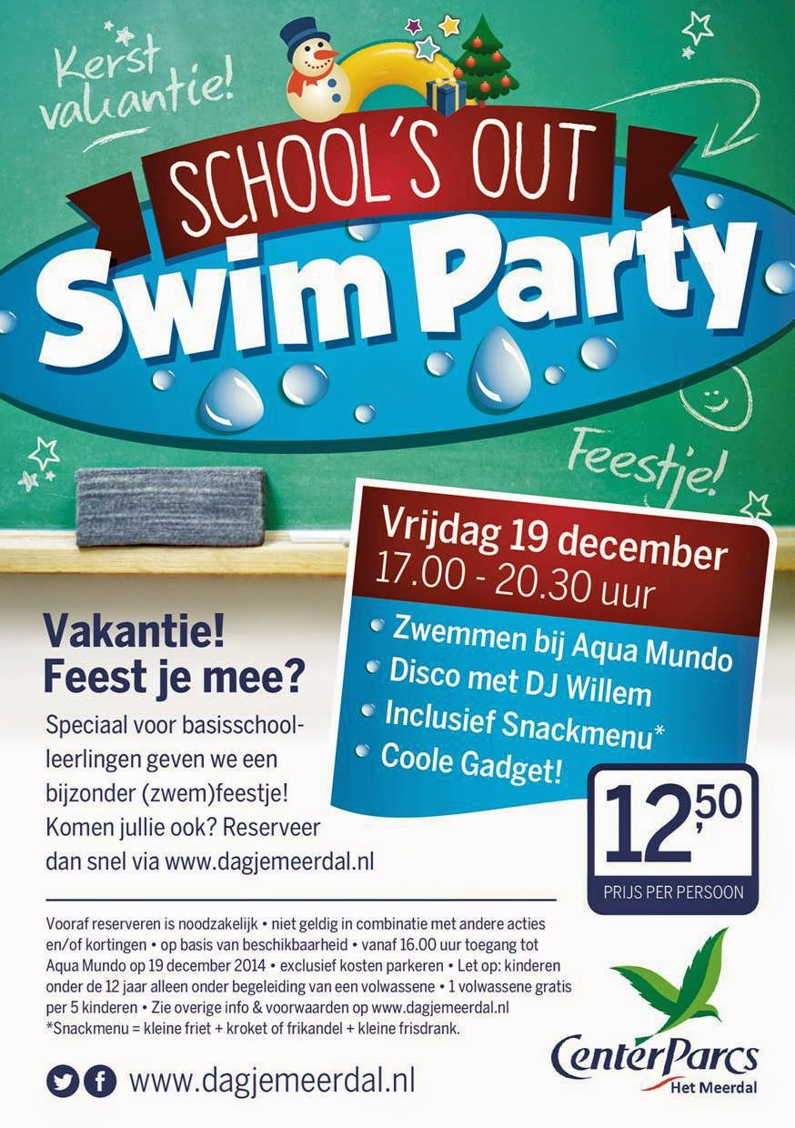 Schools out swim party, vrijdag 19 december 17.00 tot 20.30. zwemmen, DJ Willem, snackmenu en coole gadget