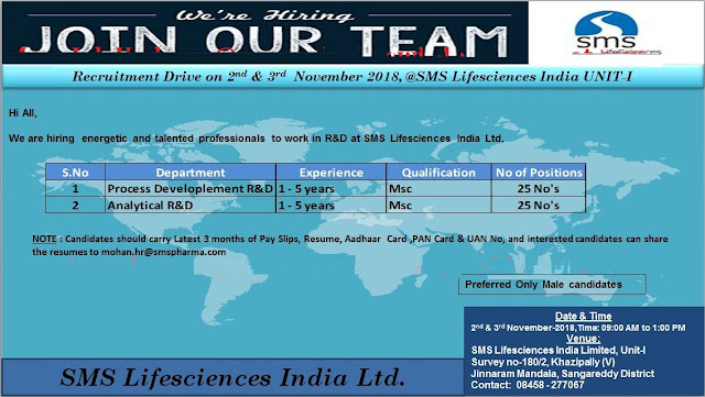 SMS Lifesciences India Ltd Walk In Drive For Multiple Positions (50 Positions) at 2 & 3 November