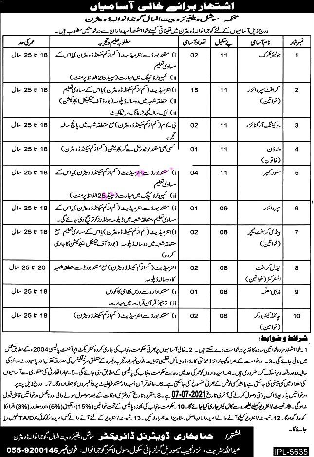 Latest Jobs in Social Welfare and Bait Ul Maal  Department Gujranwala June 2021