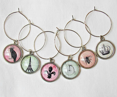 french-inspired wine glass charms eiffel tower bicycle penny farthing vintage domum vindemia earrings