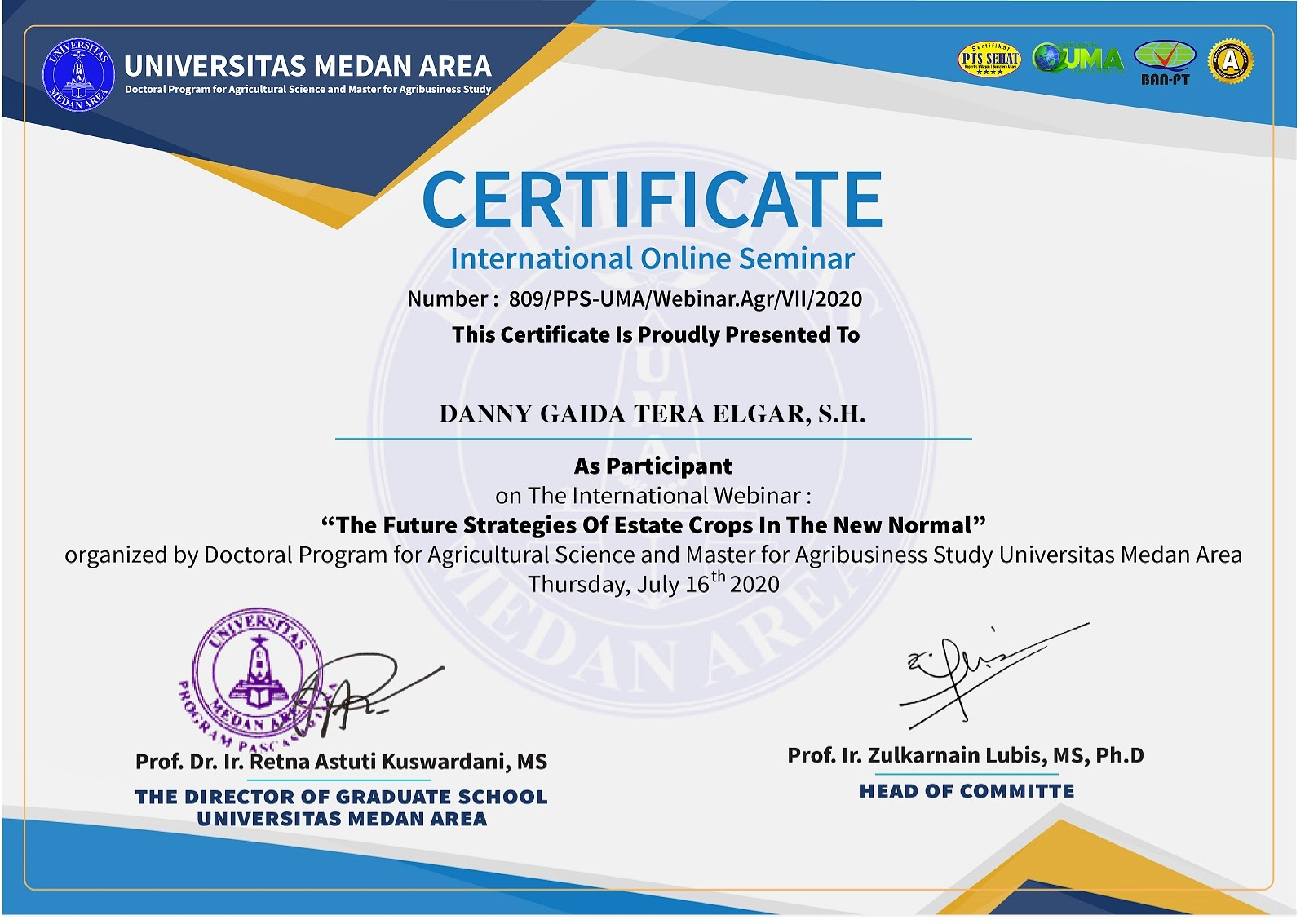 Certificate The Future Strategies Of Estate Crops In The New Normal | Magister Agribisnis dan Doktor Ilmu Pertanian Program Pascasarjana Universitas Medan Area (UMA)