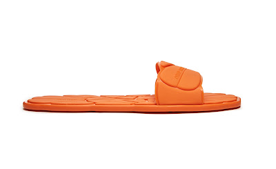 miu miu orange flower embossed rubber slides