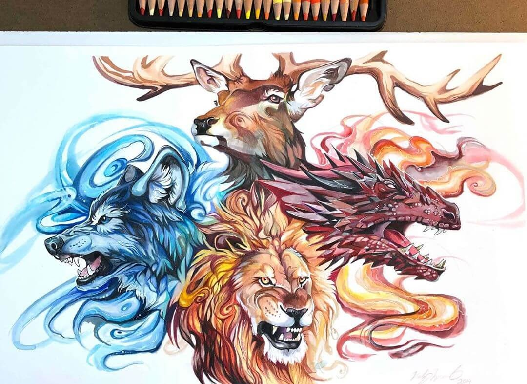 03-Game-Of-Thrones-Houses-Animal-Drawings-Fantasy-Wolds-www-designstack-co