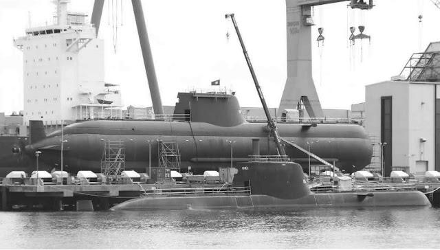 Submarino portugués de la clase Tridente (U-209PN). Foto - HDW.