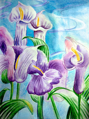 Watercolor picture flowers
