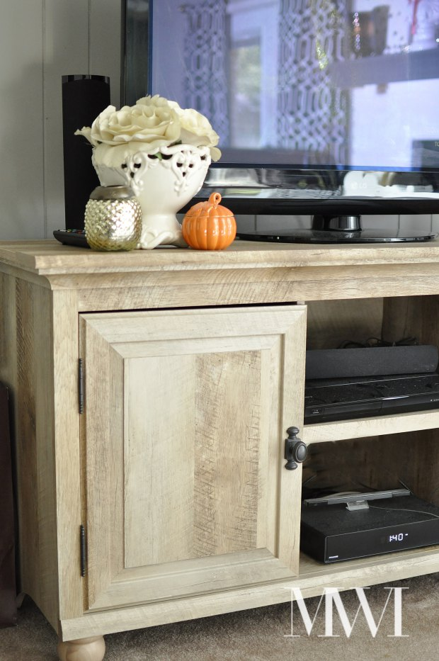 Tips to Personalize Your Home Decor   Monica Wants It The Better Homes and Gardens Crossmill TV Stand from Walmart is beautiful  and looks like a