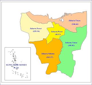 Peta Provinsi DKI Jakarta, Daftar Nama Daerah Kota / Kabupaten di Provinsi DKI Jakarta