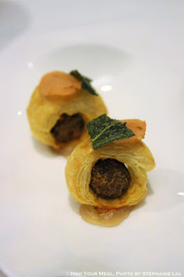 Lamb Sausage Wrapped in Puff Pastry with Pickled Granny Smith Apple at Gabriel Kreuther in New York City