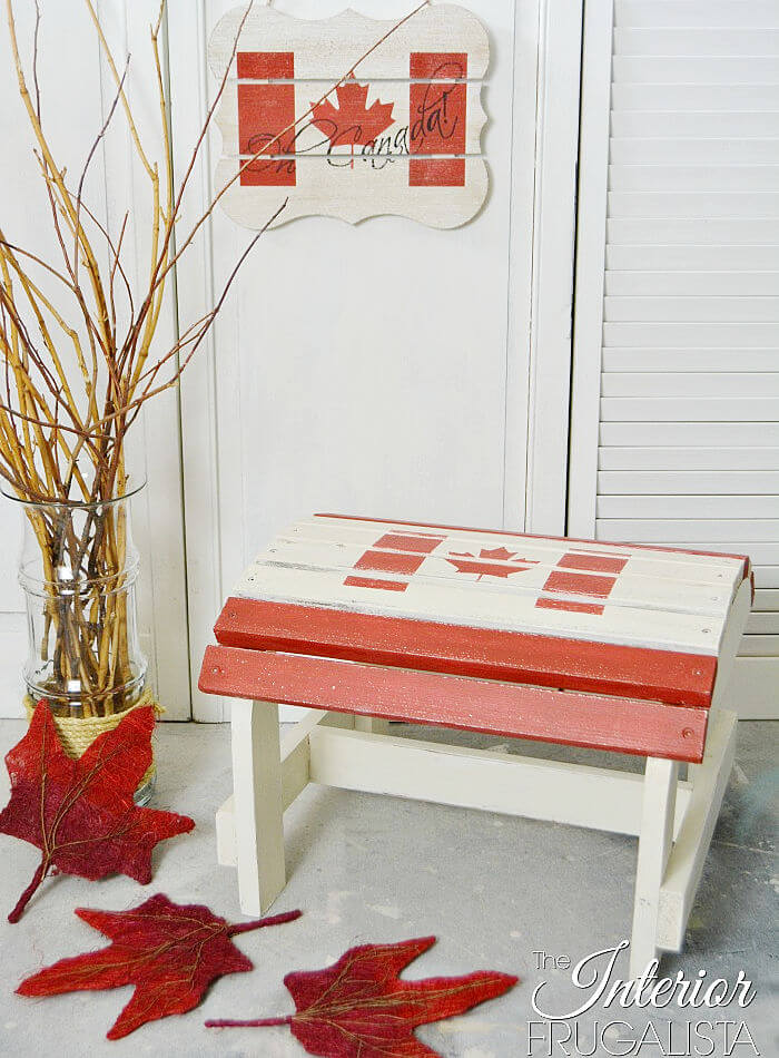 An Adirondack Footstool Makeover for Canada Day, a fun and easy patriotic decor idea for the lake cottage or front porch using a Canadian flag stencil.