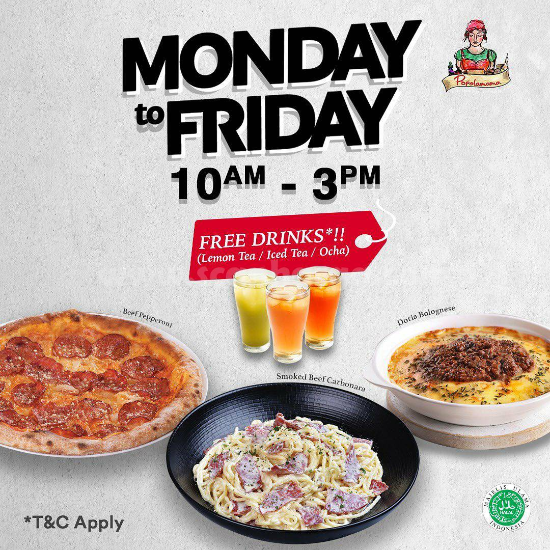 Promo POPOLAMAMA Free Drinks From Monday To Friday
