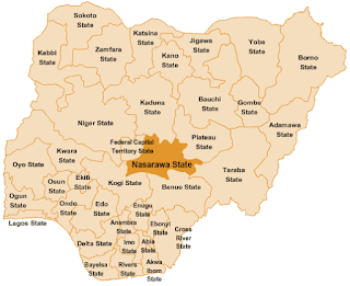 Map Nigeria showing Benue State